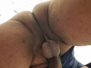 Up view shot of my dick and balls