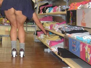 mmmm I'd love to go shopping with you! Lovely legs, and a gorgeous arse. We will only be able to shop for things on the bottom shelf though  xoxoxox peter