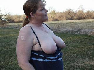 My wife flashing her tits out in the fields