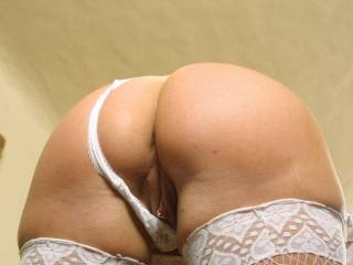 My white lingerie bending over