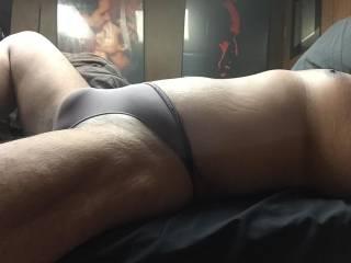 Brown thong bulge