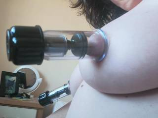Could do with a helping hand, with these nipple pumps. Or shall I go back to a nice wet warm mouth/manly hands.