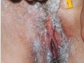 My girlfriends mate shaving her hairy pussy