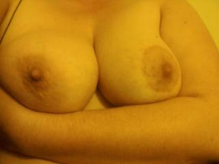 My girlfriends big ass tittits.  I love her big hard nipples too.  What do you guys think??