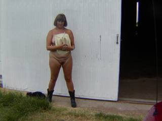 Chubby mature wife exposed outdoor. Need any help?