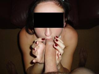 that is one big cock that tiny lady is sucking...hot