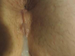 """After shooting a hot load deep in me the """"shooter"""" wanted to see his load cum out. But it was too THICK!"""