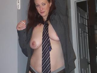 Wearing my mans fancy clothes. Stripping down for my boss
