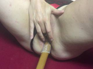 My wife loves acting like a filthy street whore. Does getting fucked in the arse with a pool cue qualify?