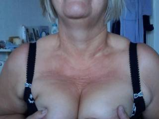 I'm happy to show you my tits again. You've seen lots of pussies, so you don't need to see mine...do you?