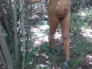 Cuckhusbands slut wife takes a walk in the woods. Was hoping to run across a couple horny men.