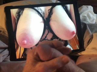 Such sexy tits on display, I am consumed with thoughts of sucking her nipples as I am stroking my cock.