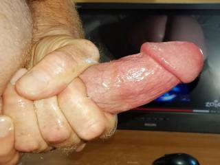 Jerking my hard throbbing cock to nor100\'s hot wet dildo pussy fucking reverse tribute video she made for my cum load!
