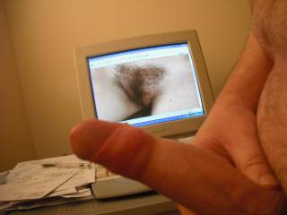 My aroused prick and a porn star\'s hot hairy cunt with sadly the screen between me and her!