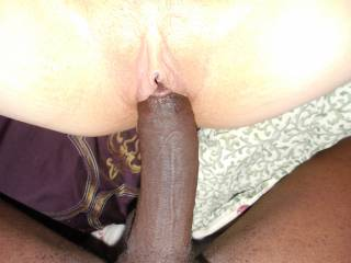 Oooooo, yeah....fill my pussy with that hot dark meat...all the way to your balls.  Yes I want all of that black cock.  K