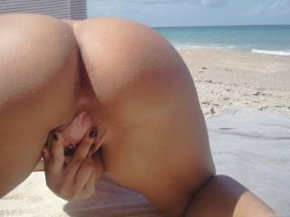 Wifey spreads for me at the beach
