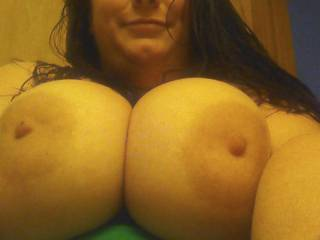 I'd love to lick and suck those delicious nipples, squeeze them together and suck both at the same time, and then give them a nice thick creamy load of cum