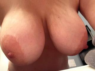 WOW!!  These are the most perfect tits I have ever seen...size, shape, big aerolas (my favorite!) and deliciously hard nipples...simply carved to perfection!!