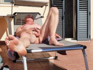 I want to enjoy that hot body, big cock, and sexy feet of yours