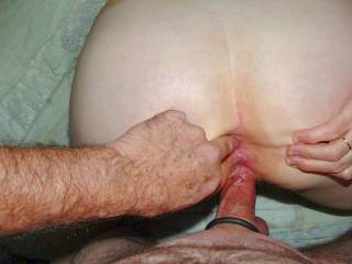 Cock in pussy...finger in ass...getting ready for some anal sex with Mona...