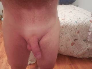 just ginished shaving n thought id post a picture of this clean shaved cock and balls. what lady would like to play with this thick cock?