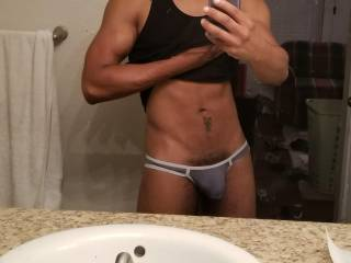 I had been working out and decided to take a selfie.   What do you guys think? Lose the shirt or the undies to finish working out?