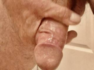 Getting it hard .  It's nice and slick , who needs some dick .