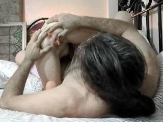 """I was busy sucking my ol man\'s cock when I hear him asking the neighbor if he wanted to stick his hard cock back into my ass. """"Well, take a few more pics, then I\'m gonna just sit back and watch you cum in her ass."""""""