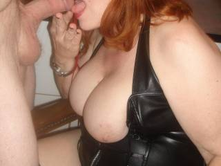 We love seeing them too.  They are gorgeous.  And we love seeing her having fun with that lovely cock too.  Sexy lips on her too. Very hot pic.