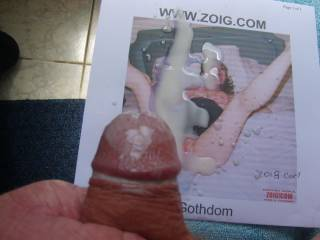 Picture No 2 look at all the cum on my cock and I spread my hot cum all over your nice picture that open legs and nice pussy make me cum over and over cum 4 times over your  beautiful body hope you like it I am still busy playing with my self …&#823