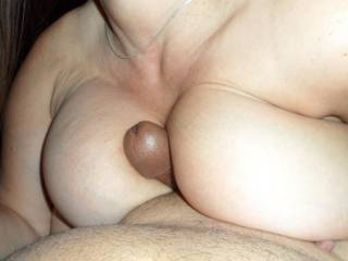 your wife's stunning boobs along with your stunning cock - what a beautiful combination :)