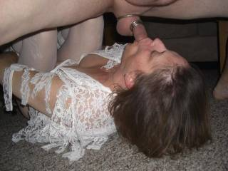 Spectacular shot of her taking that hot cock down her throat, I'd love to have my hot meaty cock stuffed deep inside her juicy pussy at the same time and see us all bust our loads...!!