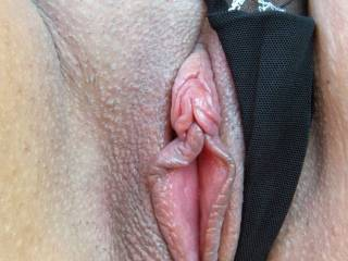 Up close shot of wife\'s sweet pussy.
