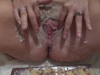 This is what they can an all day breakfast! {chuckle} It would be for me as I'd start licking it clean in the morning and not finish until I'd smeared all the rest of that cake on her pussy, and licked her clean all over - inside & out - to make her cum endless [hopefully to the point of squirting], thereby providing the fluid to wash down the cake!  A delicious dish best served hot & sexy i say