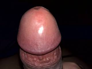 The head of my cock after a good rest. Full, shiny, healthy looking and smooth. Normally he won\'t stay for long in that kind of condition.