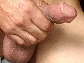 Still soft but im horny see how full my balls are? Will you come drain me?