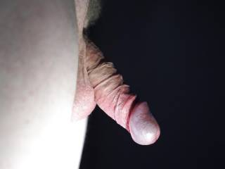 LIght on my cock head, my foreskin pulled to completely uncovered it.