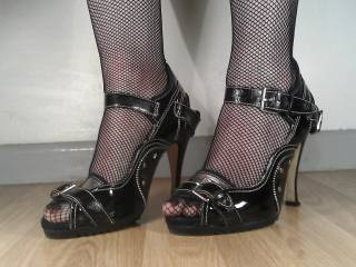 These are my sexy worn bitch heels with zips and studs, also my sexy fishnet seemed holdups.  These heels have given me a great deal of pleasure.  I hope you like them as much as I do?