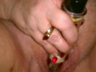 Wife and her glass toy.