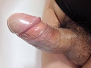 My penis and black cotton panties.
