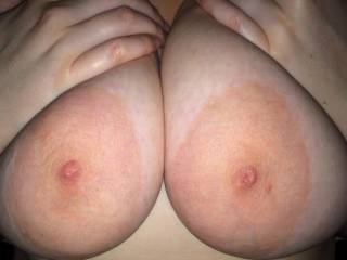 Fan-tas-tits, really.. And instant hard-on here!  I could slap those beauties with my hard cock like there's no tomorrow... And empty my huge set of full balls onto them. I would get you thoroughly splattered and drenched in hot cum.  I wonder if you like the idea?