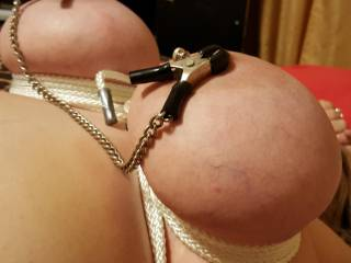 She loves having her big tits bound!