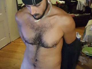 Showing off my piercings and big dick