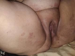 Love taking pictures of this sexy woman, who wants to help me eat this sweet pussy?
