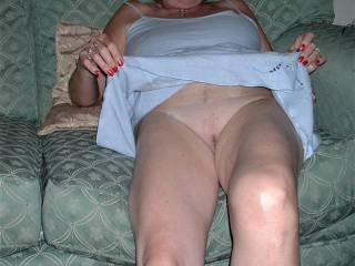My mature wife Nigela showing her pussy