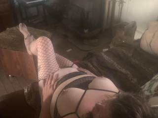 My lovely wife stretched out with new lingerie