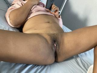 Wife's pussy after sucking on her clit. It's effect.