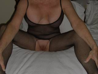 wife showing her fresh shaven pussy .  Want to lick ?