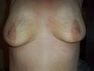 Love your tits and nipples! Yes I would love to lick and suck them, and nibble on them! xx