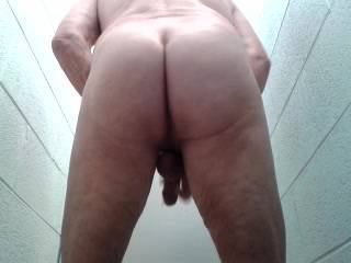 Feeling very horny, I decided to strip off naked in the toilet.  I started playing with myself and videod myself having a good wank.  I would have loved some horny person to come in and give me some help in relieving my sexual urges.   James
